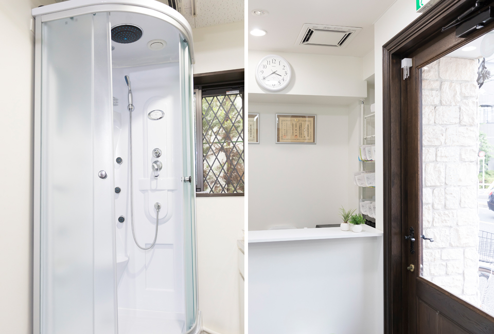 シャワー、入口受付